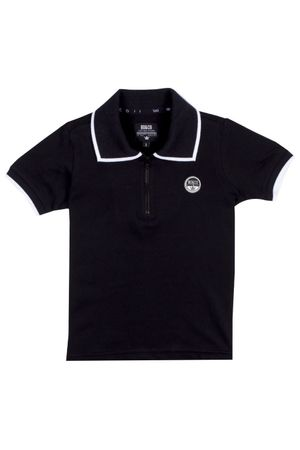 Polo Piquet Zíper Black Winter