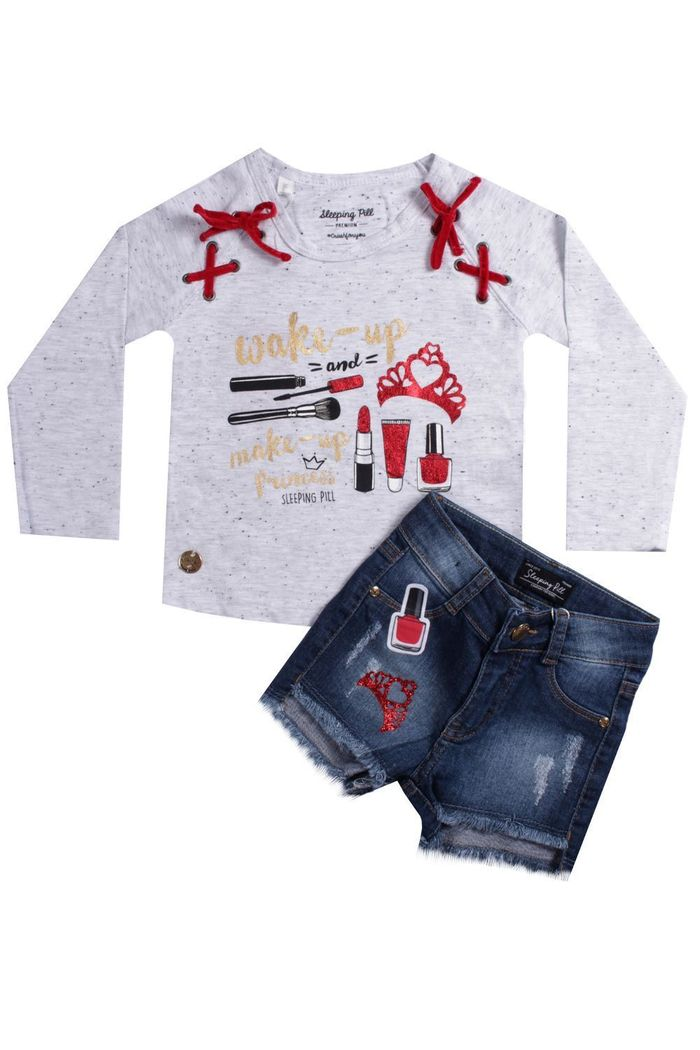 Conjunto Blusa E Shorts Jeans Realeza Make Up