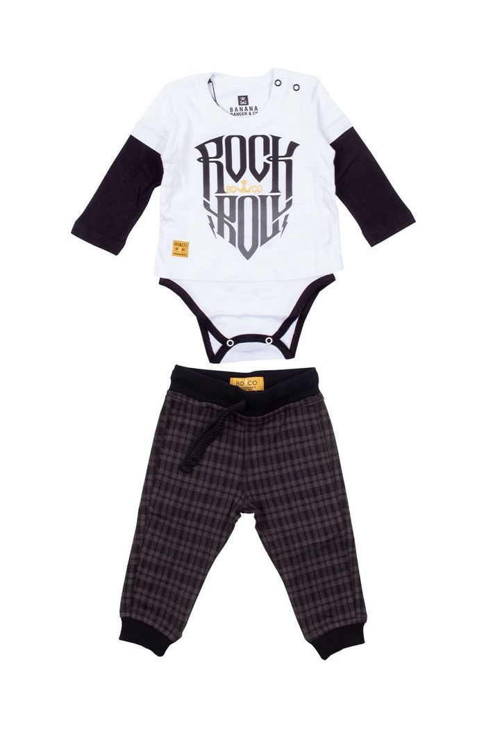 Conjunto Body Camiseta Moletinho Rock