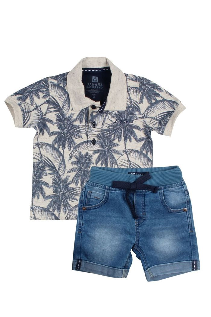 Conjunto Polo Jeans Palm Tree