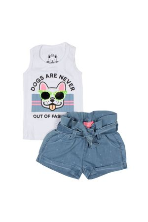 Conj. Shorts Jeans E Regata Canelada Dog