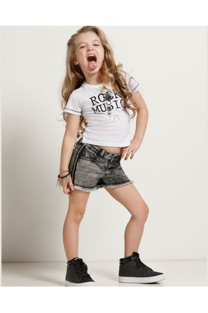 Conjunto Blusa Rock E Shorts Jeans Black