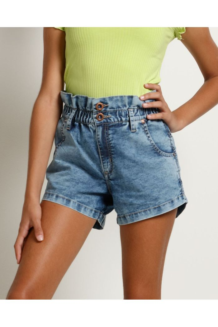 Shorts Jeans Cintura Alta Clochard