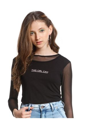 Blusa Visco Com Tela This Girls Can