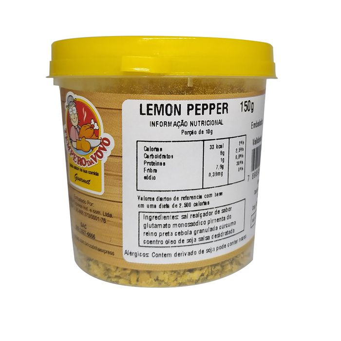 Lemon Pepper Tempero Da Vovo 150g