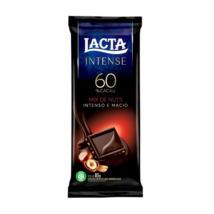 Chocolate Lacta Intense 60% Cacau Mix Nuts 85g