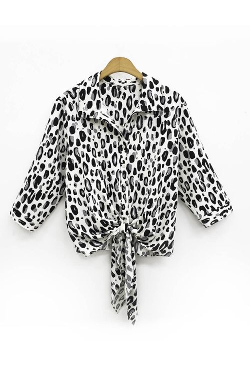 Camisa Plus Size Crepe Animal Print