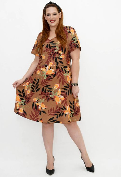 Vestido Plus Size Crepe Tropical