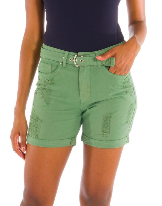 Shorts Sarja Colorida Com Cinto