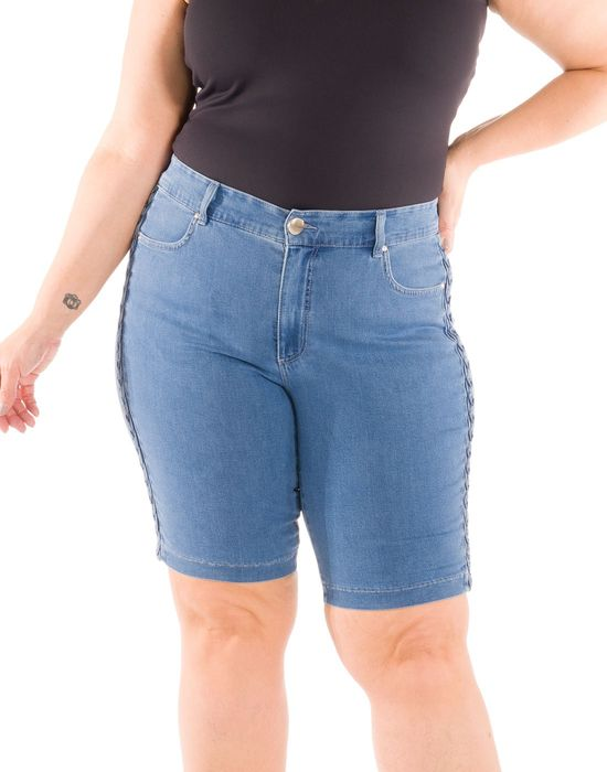 Bermuda Jeans Plus Size Impulse Com Trançado Lateral