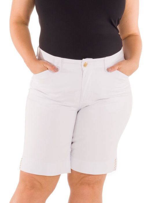 BERMUDA PLUS SIZE SARJA COLORIDA BARRA COM ABERTURA LATERAL E TACHINHAS