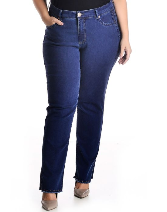 CIGARRETE PLUS SIZE IMPULSE JEANS COM BARRA TACHINHAS