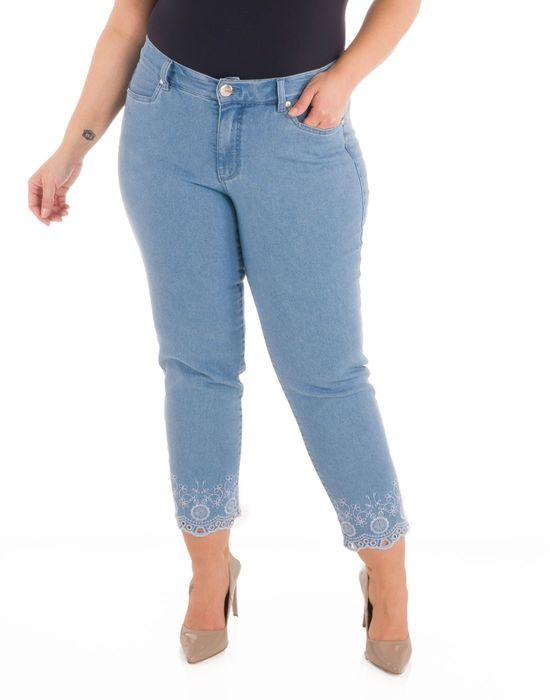 Capri Plus Size Jeans Barra Bordada