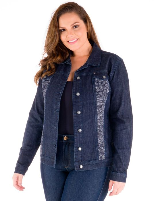 Jaqueta Plus Size Jeans Com Tweed