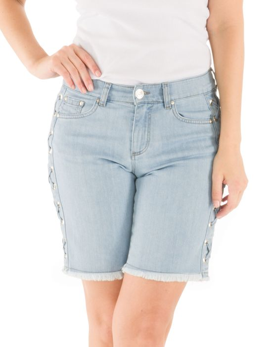 Bermuda Jeans Lateral Com Ilhós Loony Jeans