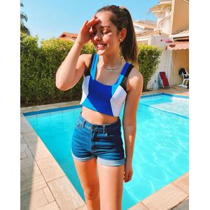 Top Teen Amofany Bloco De Cores