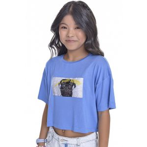 Camiseta Cropped Kids Amofany Viscolycra Com Aplique Study Buddy