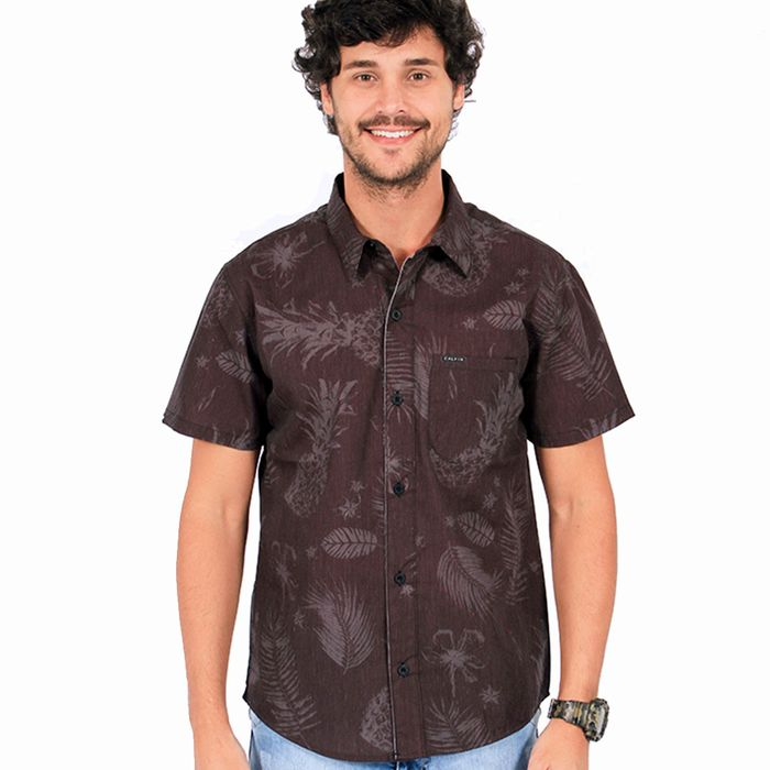 Camisa Tricoline Policotton Sublim Abacaxi