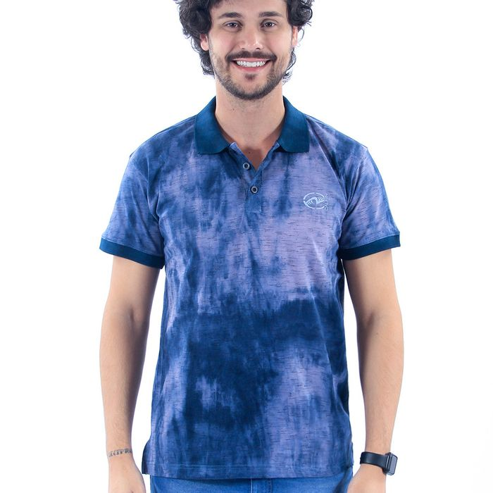 Camisa Polo Calfin Blend Splash Fenda Lateral