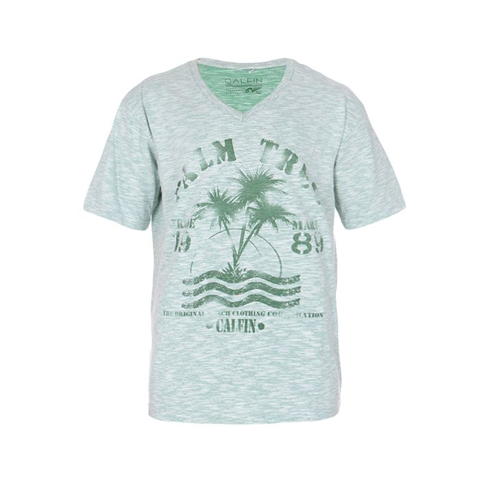Camiseta Especial Plus Size Calfin Sudão Flame Decote V Palm Tree