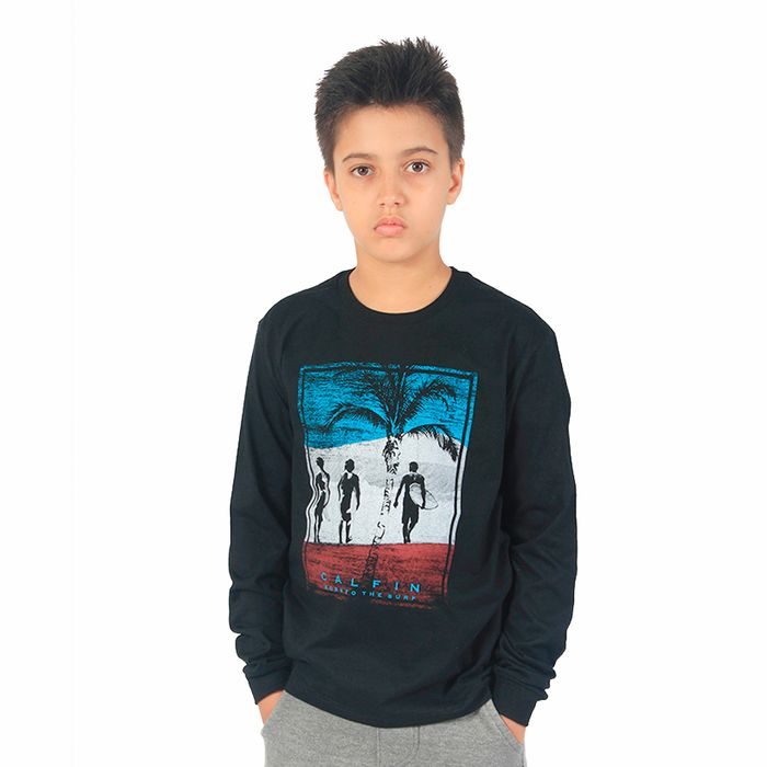 Camiseta Juvenil M/l Calfin Born To The Surf