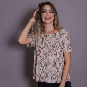 Blusa Viscose Estampa Cobra